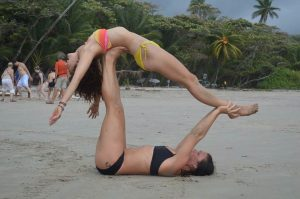 Partner Yoga on Beach