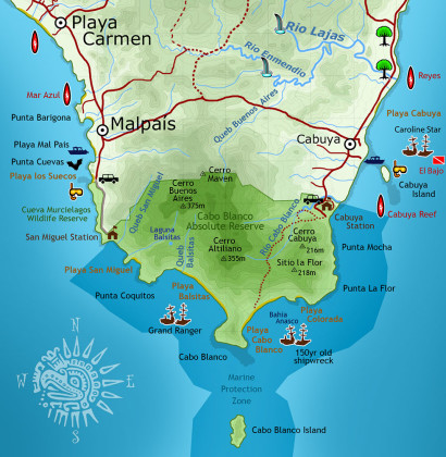 Cabo Blanco National Park Map