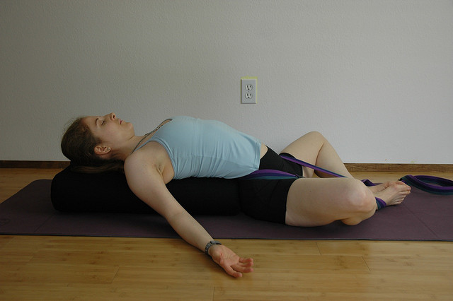 Supta Baddha Konasana via flckr https://www.flickr.com/photos/tarnalberry/2479645912/